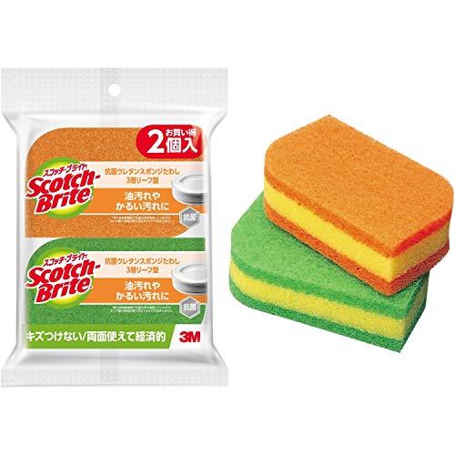 3M スポンジ キッチン キズつけない 抗菌 リーフ型 2個 スコッチブライト SS-72K 2PM