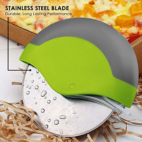 Product Image 4: Kitchy Pizza Cutter Wheel – Super Sharp and Easy To Clean Slicer, Kitchen Gadget with Protective Blade Guard (Green)