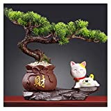 Árbol Bonsai Artificial Artificial Bonsai Tree Cerámica Lucky Cat Fake Green Tree Decoración Interior Lucky Bag Tree Potted Plant Sala de estar y decoración de la oficina Bonsái Decorativo Artificial