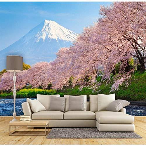Fotobehang muurschilderingen mooie kersenbloesem Mt. Fuji Japanse en Koreaanse Tv Achtergrond Muurschildering Kwaliteit Waterdicht Materiaal About 300*210cm 3 stripes