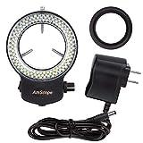 AmScope 144LED Regolabile Compact Microscope Ring Light + Compatibile con Finitura Nera