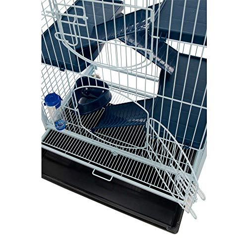 Tyrol - Jaula para roedores (64 x 44 x 93 cm), Color Azul y Negro