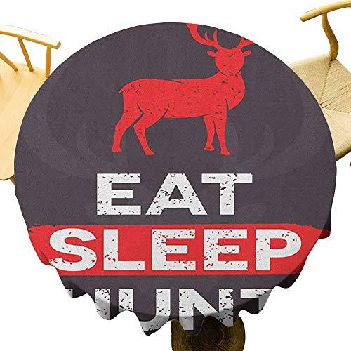 VICWOWONE - Mantel redondo retro de 35 pulgadas, para comer y cazar el sueño, con cita inspiradora, texto en inglés 'Grung', diseño de ciervos, cuernos decorados, color blanco