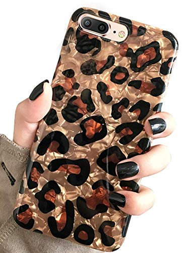 J.west iPhone 8 Plus Case, iPhone 7 Plus Case, Luxury Sparkle Bling Cheetah Print Pattern Crystal Clear Soft TPU Silicone Back Protective Phone Cover Girls Women for iPhone 7/8 Plus 5.5 inch (Leopard) Indiana