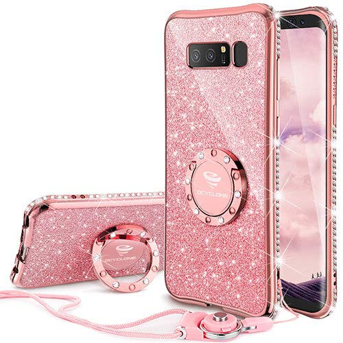 Galaxy Note 8 Case, Glitter Luxury Cute Phone Case Girls with Kickstand, Bling Diamond Rhinestone Bumper Ring Stand Sparkly Luxury Thin Protective Samsung Galaxy Note 8 Case for Girl Women - Rose Gold