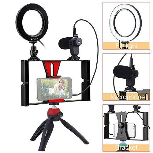 Ringlicht Licht Statief Microfoon Selfie Live LED Ringlicht Dimbaar Verticale beugelbevestiging Mobiele cameralamp voor telefoon Video-opnamen, YouTube