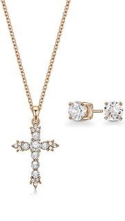 Mestige Jewellery Rose Gold Hallelujah Set with Swarovski® Crystals, Gifts Women Girls, Cross Necklace Earring Set