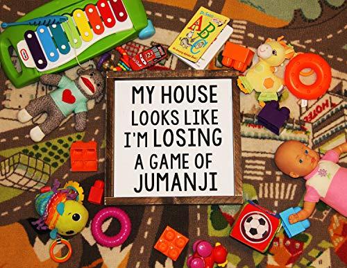 Wall Art mijn huis ziet eruit alsof ik verlies een spel van jumanji ingelijst hout teken, grappig teken, muur hangingen, muur decor, grappige home decor grappige citaat hout plaque, aangepaste gift