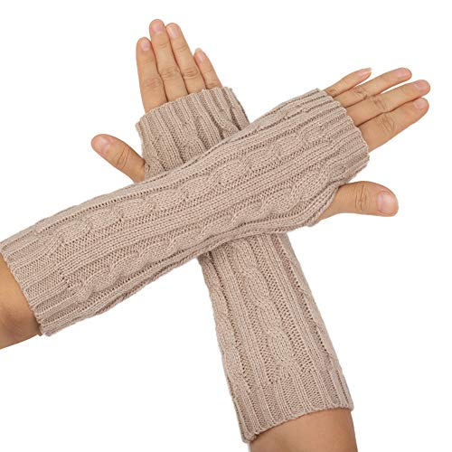 Flammi Women's Cable Knit Arm Warmers Fingerless Gloves Thumb Hole Gloves Mittens (Beige)