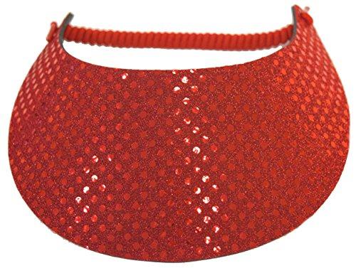 Coil Foam Visor Red Sequin Red Hat Ladies