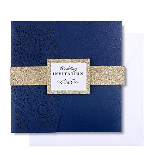 Two brides wedding invitations with gold belt