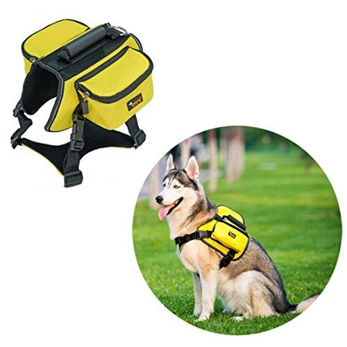 Ondoing Hond Rugzak Servies Middelgrote honden Backpack Outdoor fietstas zadeltas verstelbare huisdier tas Pack reflecterend vest hondenharnas voor wandelen camping reizen, Large, geel
