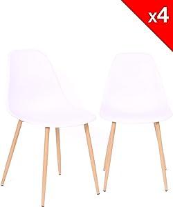 KAYELLES Lot de 4 chaises scandinaves Nova Cuisine Salle à Manger (Blanc)