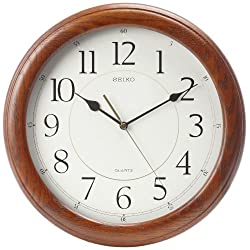 Seiko Wall Clock Quiet Sweep Second Hand Dark Brown Solid Oak Case