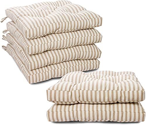 BRAVO HOME Lot de 6 Coussins de Chaise, 45x45 CM, Couverture en Polyster et Remplissage en Coton, avec Sangles, Idéal pour la décoration de la Cuisine et du Salon (Set 6-45x45CM, 6.Rayure Beige)