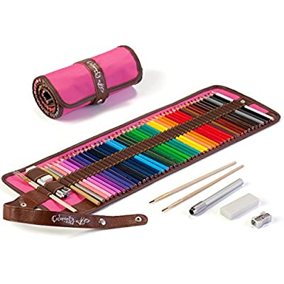 48 Colored Pencils for Adults Inc. Metallic Gold & Silver, Artist Grade watercolors with Canvas Bag, Metal Sharpener, Pencil Extender, Paint Brush & Eraser, by Colorarty