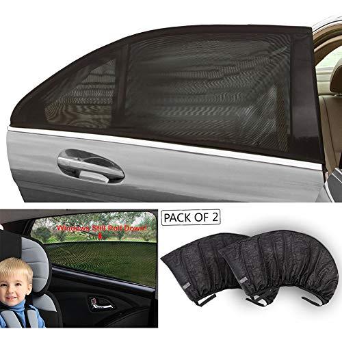 TIROL Black Mesh UV Protection Car Window Rear\Side Window Sun Shades For Family Outdoor XL:126x52CM 2 piece