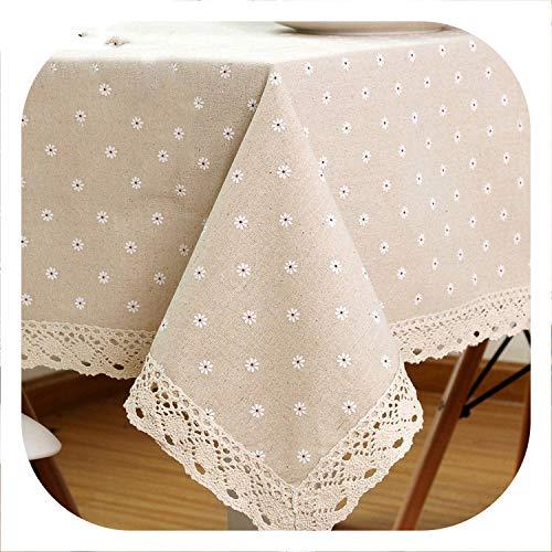 Small-shop tablecloth Tovaglia in Lino e Cotone con Bordo in Pizzo, tovaglia Rettangolare per casa e Hotel 100x150cm As Show