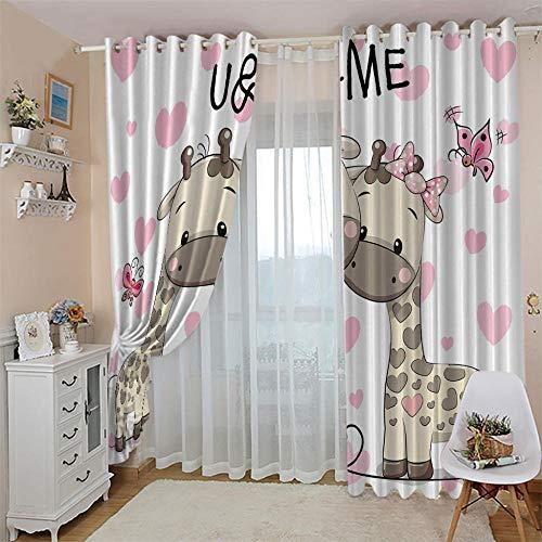 LIGAHUI Vorhang Blickdicht Cartoon-Giraffe 2X B140x H175cm Verdunkelungsvorhänge 2er-Set blickdichte vorhänge mit Ösen für Schlafzimmer, Kinderzimmer