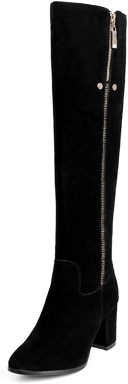 Nine Seven Suede Leather Women's Round Toe Block Heel Zippers Handmade Elegant Over The Knee Boots