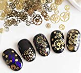 LASSUM Metal Nail Sequins 3D Punk Time Gears Nail Studs Nail Art Decorations (Box-Packed)