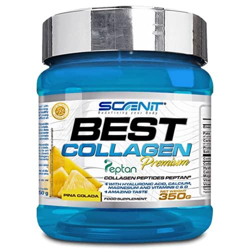 Best Collagen   Colágeno con magnesio, Vitamina D, Vitamina C, Ácido Hialurónico para articulaciones y huesos   Colágeno hidrolizado Peptan en polvo para huesos y articulaciones (350 g) (Piña colada)