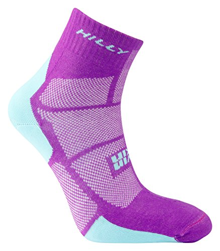 Hilly Women's Twin Skin Anklet Socks, Purple/Aquamarine, Small