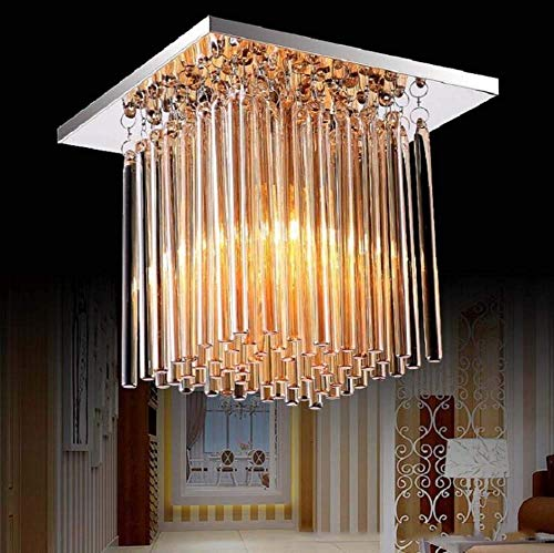 Lámpara de araña de cristal, moderna forma cuadrada de gota de cristal, lámpara de techo colgante LED empotrada para comedor, dormitorio, sala de estar, oficina, 18 x 18 cm