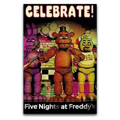 WPQL Fnaf Poster Five Nights at Freddy's Celebrate Poster Dekoration Gemälde Leinwand Wandkunst Schlafzimmer Wohnzimmer Poster Gemälde 35 x 52,5 cm