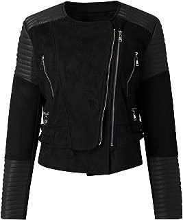 Aotifu Women Classic Solid Biker Jacket Zip up Bomber Jacket Coat Faux Leather Motorcycle Jacket with Removable Hood