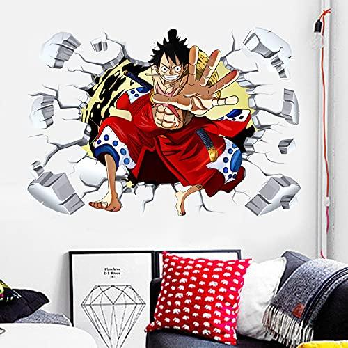 Anime Cartoon Manga Navegación Película Una pieza Sombrero de paja Pirata Luffy 3D Etiqueta de la pared PVC Calcomanía Boy Fans Dormitorio Club Studio Decoración para el hogar Mural