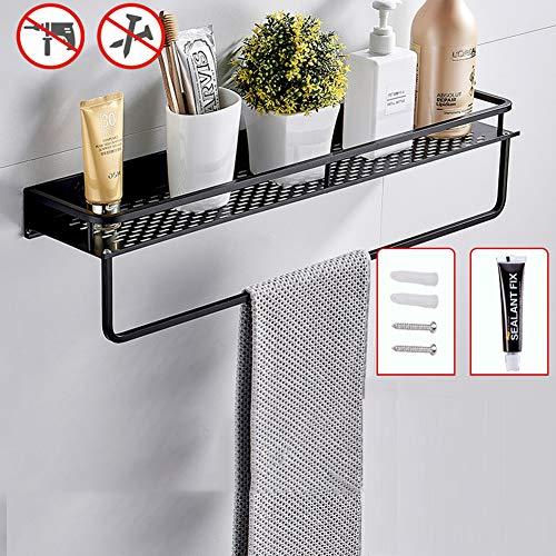 Rek voor kruiden, plank voor de keuken, wandrek, kruidenrek, dubbel gebruik, met handdoekhouder, voor keuken, meubels, badkamer (zwart), 60 + handdoekhouder