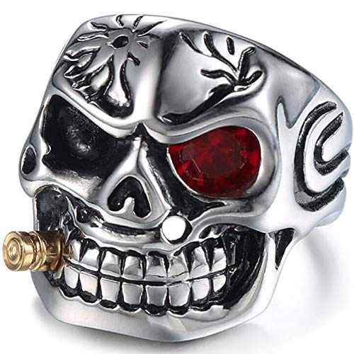 Jude Jewelers Vintage Stainless Steel Gothic Skull Smoking Bullet Biker Cocktail Party Ring (Red Stone, 9)