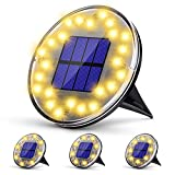 Luz Jardin Solar, KagoLing Luz Solar Exterior 24 LEDs Focos Led Exterior IP68 Impermeable 2 Modos Luz de Suelo Exterior Solar para Calzada,Césped, Patio (Blanco Cálido 4 Pieza)