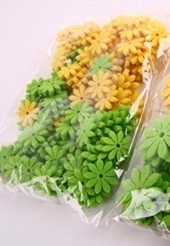 Deko Filzblumen - Filzblüten zum streuen, gelb und grün sortiert. D 2,5cm. 144 Stück
