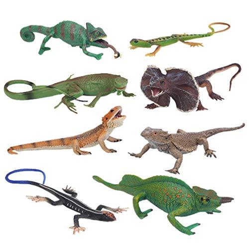 Gadpiparty 8 Unidades de Juguetes de Lagartijas para Niños Juguetes de Aprendizaje de Animales Salvajes Juguetes de Aprendizaje de Reptiles Figuras de Animales de Reptiles Modelos de Fiestas