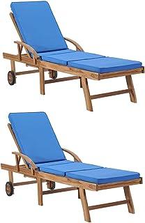 vidaXL 2X Teak Massiv Sonnenliege mit Auflagen 2 Rädern Gartenliege Holzliege Relaxliege Rollenliege Strandliege Liege Gartenmöbel Blau