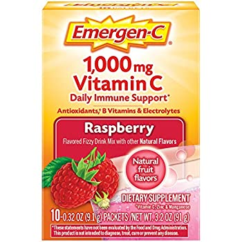 Emergen-C 1000mg Vitamin C Powder with Antioxidants B Vitamins and Electrolytes Immunity Supplements for Immune Support Caffeine Free Fizzy Drink Mix Raspberry Flavor - 10 Count