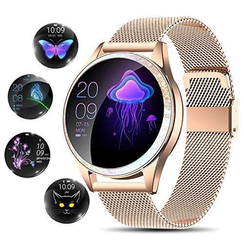 YOCUBY Smart Watch for Women,Bluetooth Fitness Tracker Compatible with iOS,Android Phone, Female Sport Smartwatch Calorie Counter Pedometer Lady Activity Tracker with Sleep Monitor, Heart Rate.