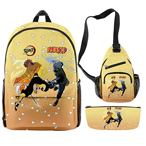 3PCS Cool Anime Demon Slayer Naruto Backpack School Book Bag with Crossbody Sling Chest Bag Pencil Pouch Bag for Lovers (B2)