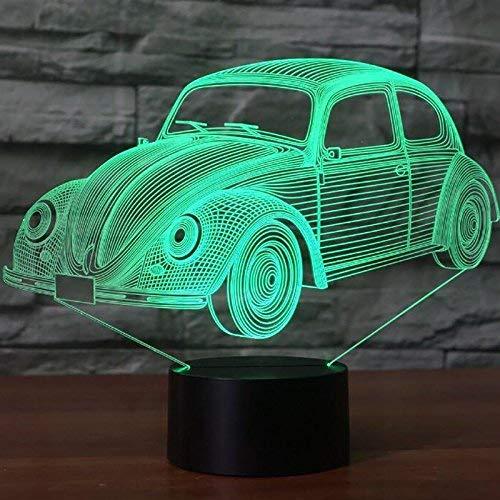 Lámpara de ilusión óptica de coche 3D Lámpara de noche LED Ilusiones ópticas Lámpara de noche 7 colores Lámpara de cabecera táctil Mesa de dormitorio Art Deco Kid's Light