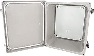 Altelix 10x8x6 FRP Fiberglass NEMA 4X Box Weatherproof Enclosure with Aluminum Equipment Mounting Plate, Hinged Lid & Stainless Steel Latches