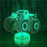 FREEZG Luz Nocturna Infantil Lampara Escritorio Lampara 3D Buggy juguete niños 3D con mando a distancia y 7 funciones de cambio de color y regulable regalo de Navidad para jóvenes adultos niños niñas