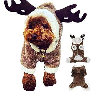 Lomire Costume de Renne de Noël pour Chiens, Vêtement/Manteau d'hiver en Peluche Tient Chaud pour Chiens de Petites Tailles, vêtement de Renne Indispensable pour Teddy, Yorkshire, Chihuahua
