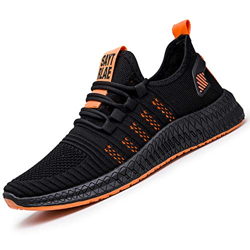Zapatillas de Deporte Running para Hombre Mujer Zapatos para Correr Gimnasio Sneakers Casual Transpirable(Naranja Negro, 39)