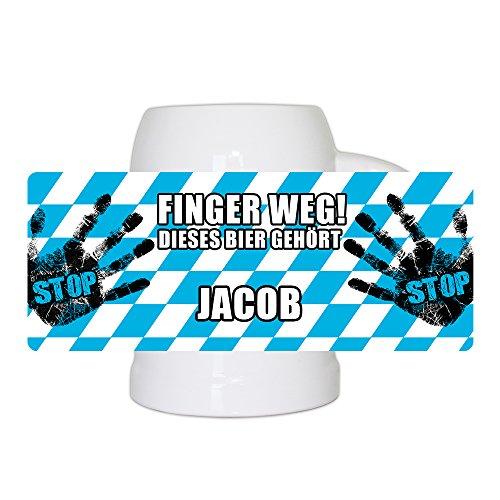 Lustiger Bierkrug mit Namen Jacob und schönem Motiv Finger weg! Dieses Bier gehört Jacob | Bier-Humpen | Bier-Seidel