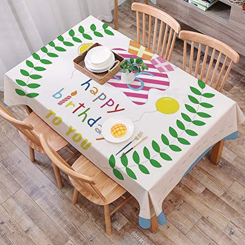 Tischdecke abwaschbar 140x200 cm,26. Geburtstag Dekorationen, süße gestreifte Überraschungsboxen Luftballons und Blätter präsentiert,Ölfeste Tischdecke, geeignet für die Dekoration von Küchen zu Hause