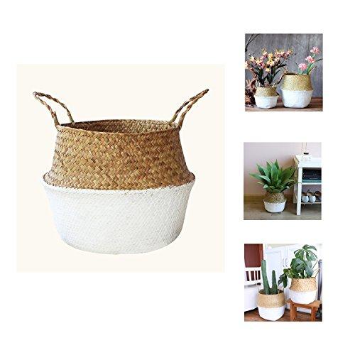 Yosposs tissé Belly Panier de rangement, Jonc de mer Plante Pot de fleurs avec poignée, pots de fleurs, maison de cuisine Organiseur L blanc