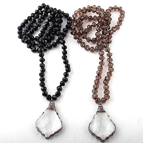 Joyería bohemia de moda Cristal de cristal Anudado largo Collares pendientes de gota de cristal de pistola negra