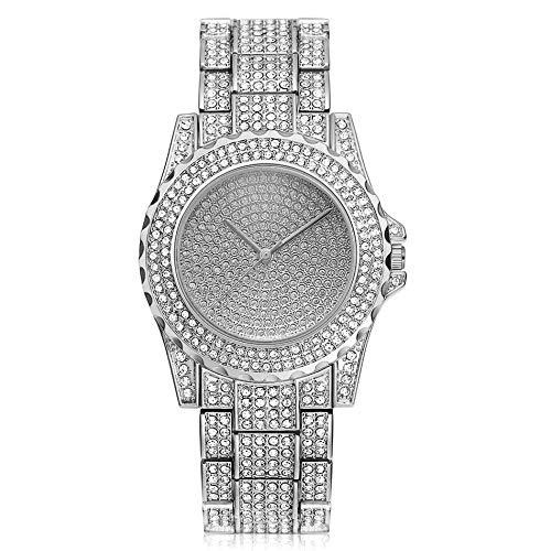 ZWH AMZ Temperamento Femenino Mujer DE Cuarto ATMOSPHERA Acero con MERCA DE Moda Completo Reloj DE Reloj DE Moda DE DIAMANCIA PEQUEÑA Reloj DE DIRADAS DE DIAMIENTO DE Acero (Color : Silver)